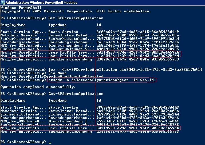 Mittels PowerShell kann man die ID der ServiceApplication einlesen, die dann als Parameter für das Löschen der ServiceApplication mittels STSADM -o deleteconfigurationobject benötigt wird.