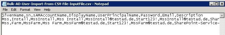 Die CSV-Datei kann beliebig viele Zeilen enthalten. Wichtig ist, dass die Kopfzeile existiert.