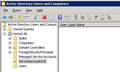 Im zweiten Schritt wählt man einen AD-Ordner aus, in dem die Service-Accounts erstellt werden sollen.