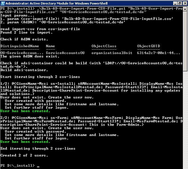 Nun wird das PowerShell-Skript mit zwei Parametern aufgerufen, um die AD-Accounts der CSV-Datei anzulegen.