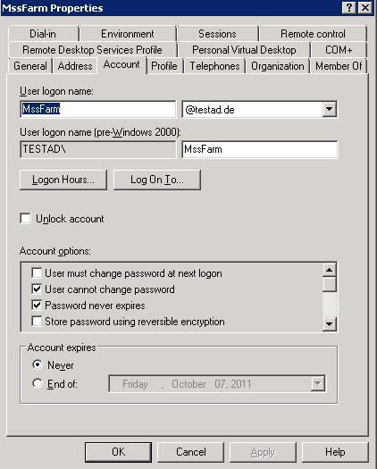 Der angelegte FarmAdmin-Account hat auch befüllte erweiterte Eigenschaften (Anmeldename, Nutzer kann das Passwort nicht ändern, Nutzerpasswort läuft niemals ab, AD-Account läuft niemals ab).