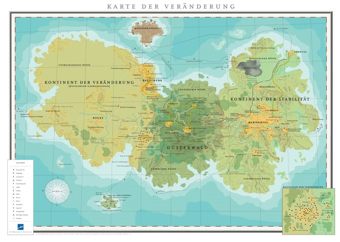 Diese fiktive Landkarte zeigt wie Projektmanagement bzw. Change-Management geographisch aussieht.