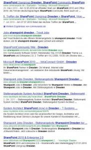 """Die ersten zehn Suchtreffer in Google liefern zum Suchbegriff """"SharePoint Dresden"""" zu 50% Job-Inserate."""