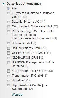 Ein Großteil der Personen-Suchtreffer arbeitet bei der T-Systems Multimedia Solutions GmbH.