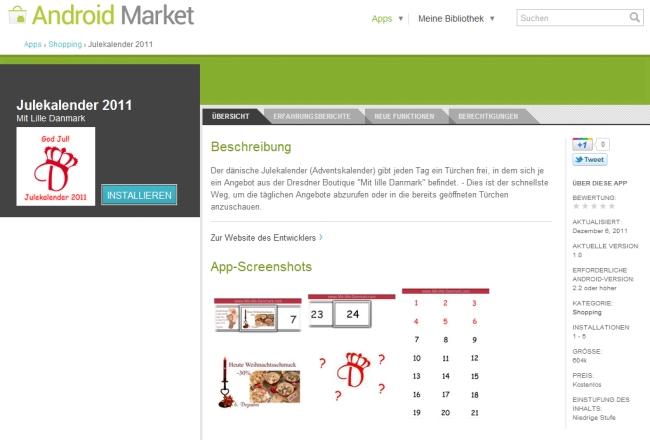 """Meine erste Android-App """"Julekalender 2011"""" zeigt einen Adventskalender, bei dem die täglichen Angebote der Dresdner Boutique """"Mit lille Danmark"""" eingesehen werden können."""