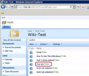 """Die SharePoint-Wiki-Seite """"Test äbc"""" soll aufgerufen (geklickt) werden."""
