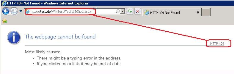Der IIS quittiert die Anfrage mit 404.