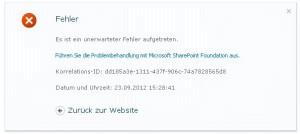 Nach dem Anlegen einer SharePoint-WebApplication wird dieser Fehler im Browser ausgegeben.