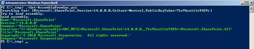 """Am Beispiel der Assembly """"Microsoft.SharePoint.dll"""" werden die Eigenschaften mittels PowerShell ausgelesen."""