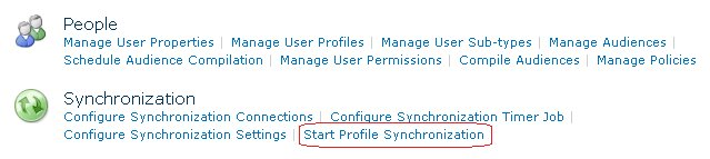Starten einer Profil-Synchronisation über die Zentraladministration im SharePoint 2010.