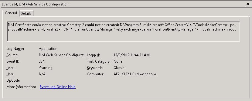 Windows-Event-Log-ID 234: ILM Web Service Configuration - ILM Certificate could not be created